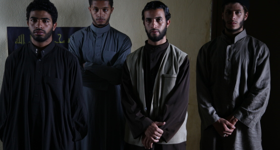 Left to right: Abdelhakim Rachid as Yachine, Hamza Souidek as Nabil, Ahmed El Idrissi Amrani as Fouad, and Abdelilah Rachid as Hamid.