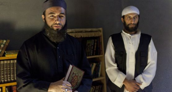 Terrorist leader Abou Zoubeir (left) and Zaid (played by Rabii Tadlaoui).
